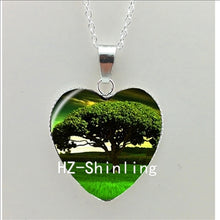 Tree Pendant Heart Necklace Art Glass Necklace-USmeditate