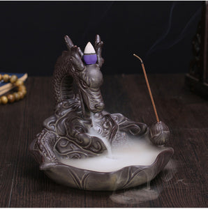 Ceramic Dragon Incense Burner Smoke Backflow-USmeditate