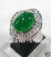 Classic Noblest Silver Inlay Green Stone Crystal Ring-USmeditate