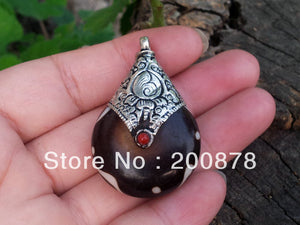 Tibetan silver capped Brown pendant, Coffee resin vintage drop pendant-USmeditate
