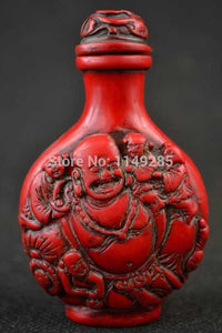 Old Collectibles Decorated Wonderful Handwork Coral Carving Buddha Snuff Bottle-USmeditate