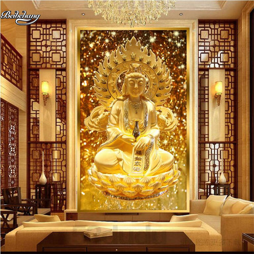 Golden Guanyin Sitting Lotus Relief Woven Wallpaper-USmeditate