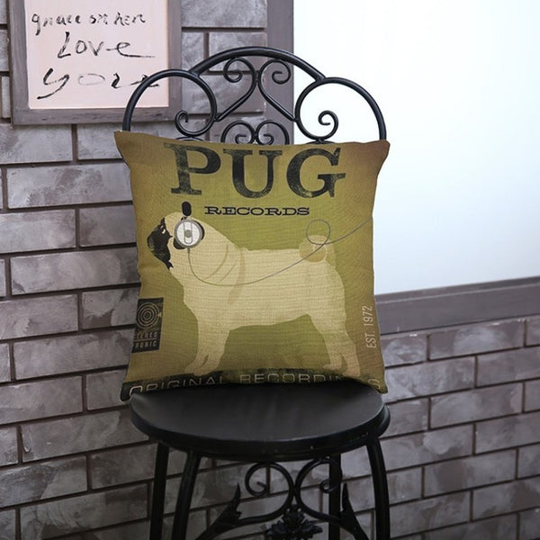 Vintage Pug Throw Pillow Cover
