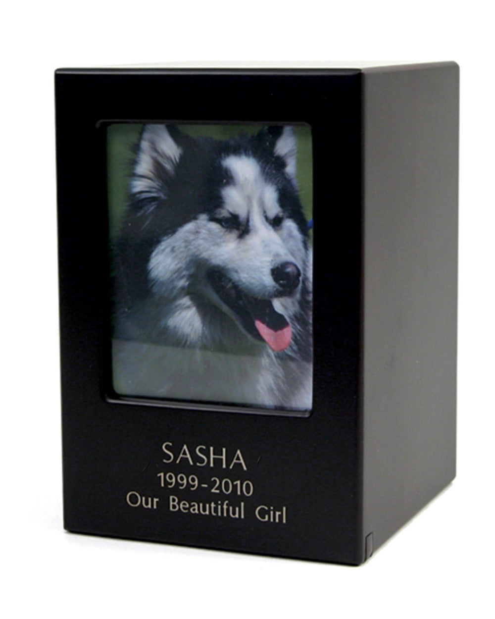 Block Photo Urns - Black Engraved