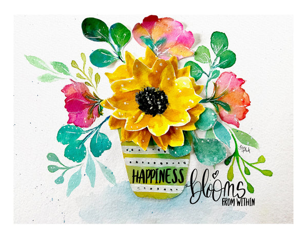 Happiness Blooms from Within Art Print Inspirational Quote