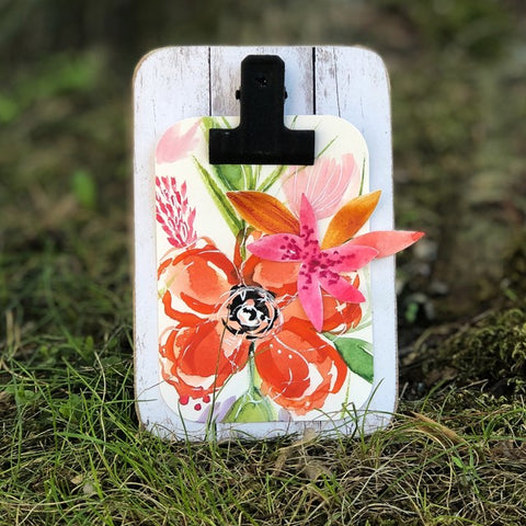 Orange Blossoms Clipboard Mini Easel Decor