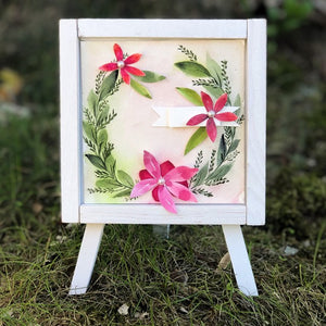 Pink Florals Easel Decor