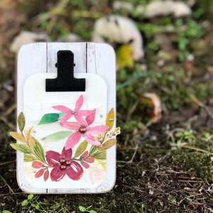 Florals + Laurels Clipboard Mini Easel Decor