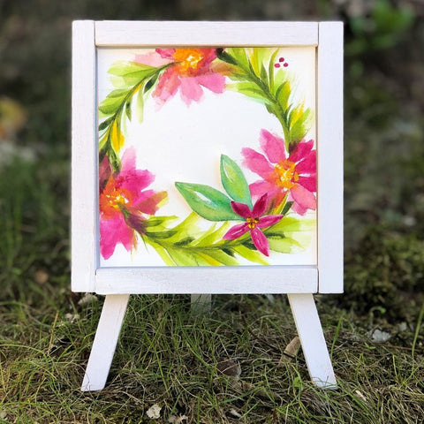 Whimsical Pink Florals Easel Decor