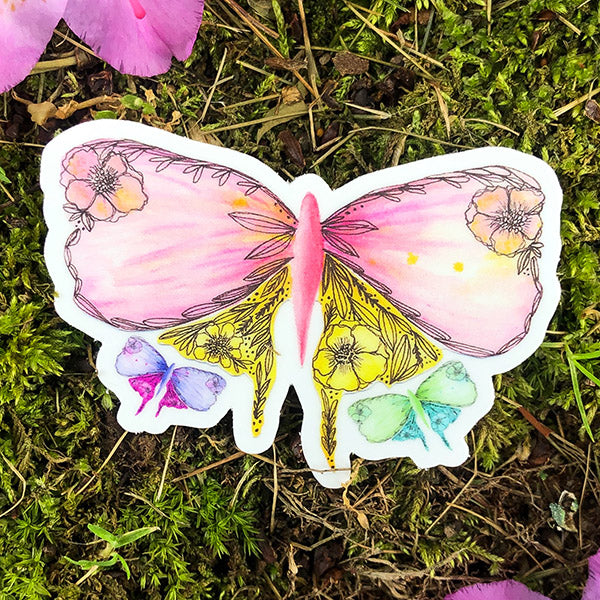 Flower Flutter Die Cut Sticker