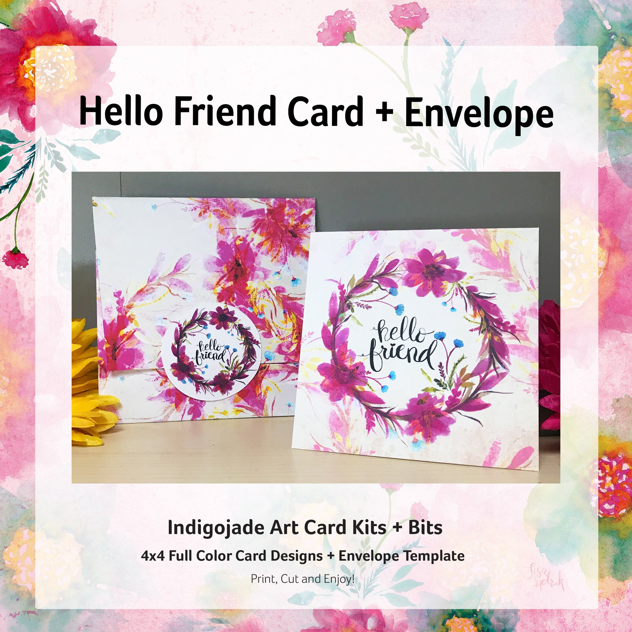 picture about Printable Friendship Cards titled Printable Card Package: Howdy Buddy Indigojade Inventive, LLC.
