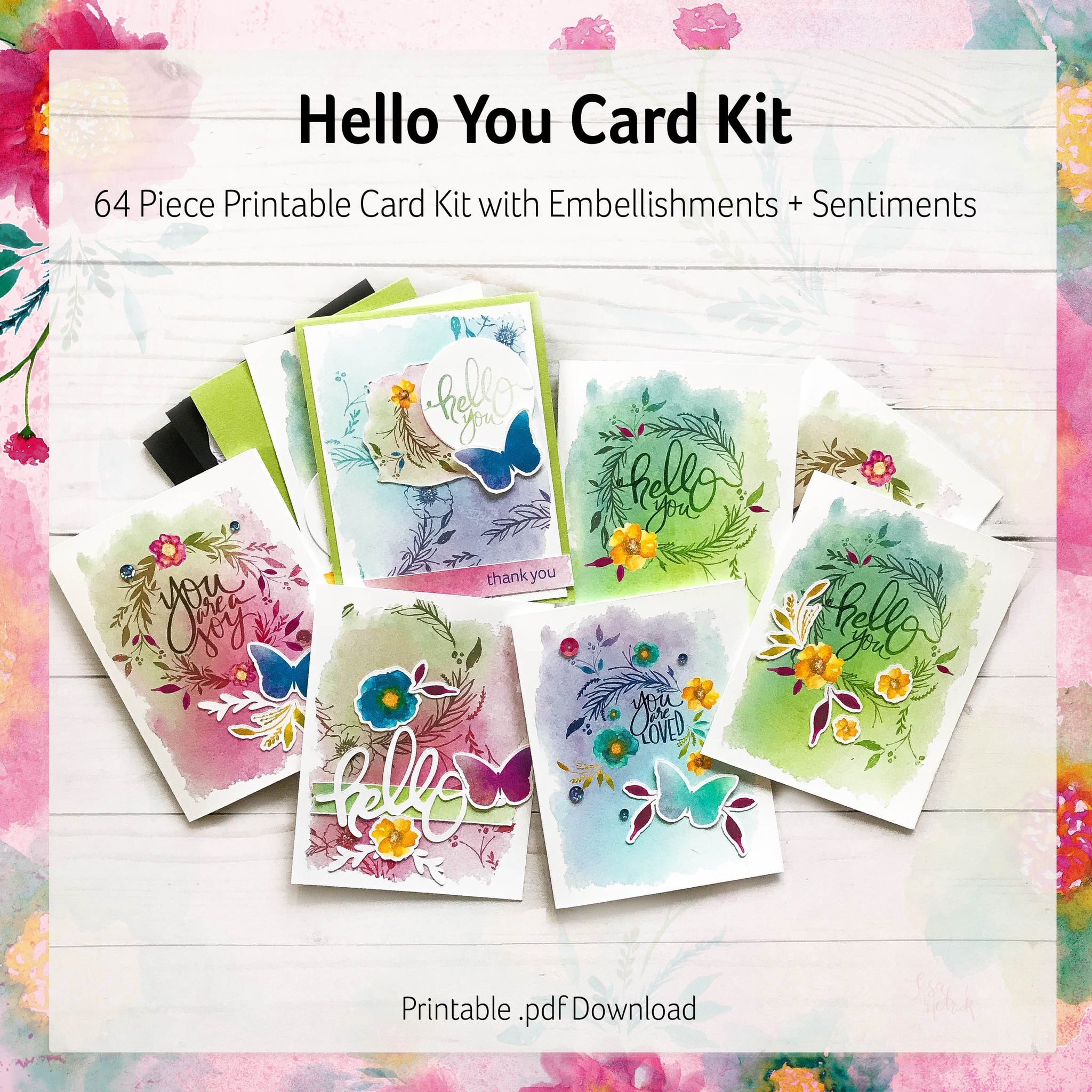 Printable Cards: Card Kit with Embellishments + Sentiments