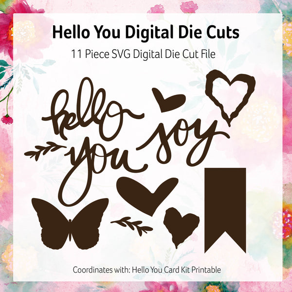 Digital Die Cuts: Hello You Card Kit SVG Files