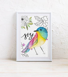 Mini Art Print: Hello Birdie JOY
