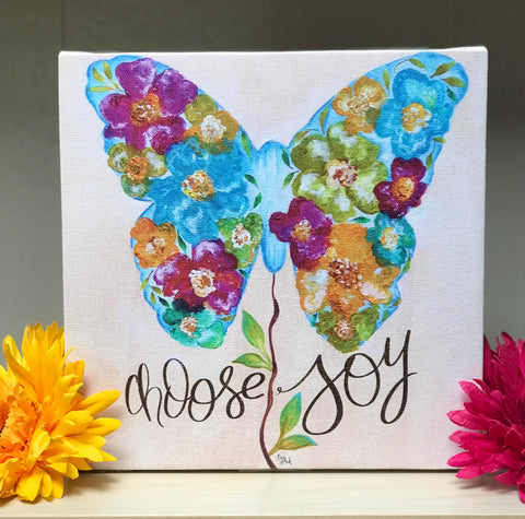 Inspirational Canvas Art: Choose Joy Butterfly