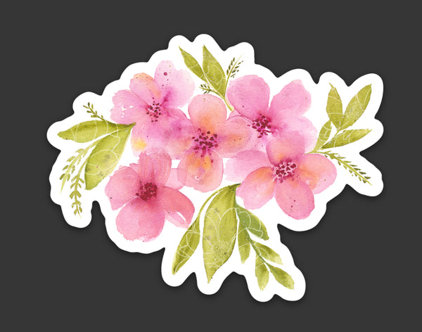 Pink Blossoms Die Cut Sticker