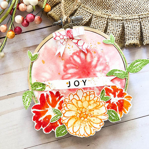 Embroidery Hoop Paper Art JOY