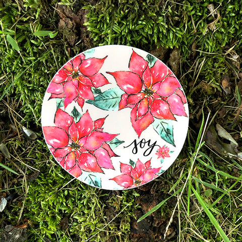 Joy Poinsettia Die Cut Sticker