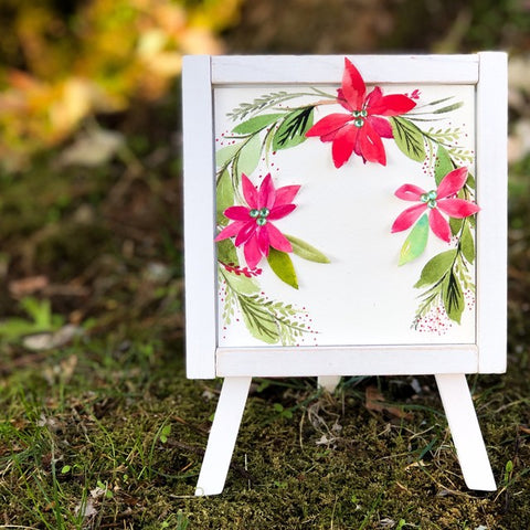 Fiery Floral Laurel Easel Decor