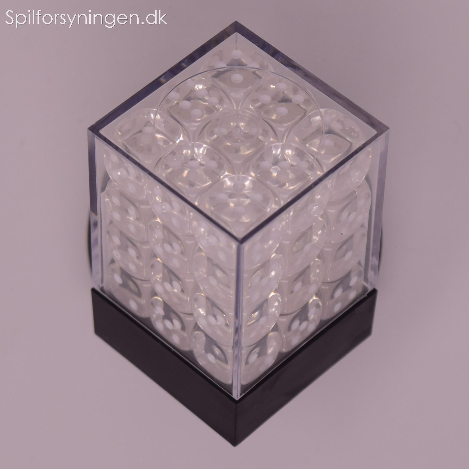 Translucent – 12mm d6 Clear w/white Dice Block™