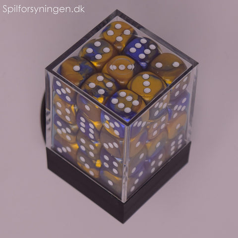 Gemini™ - 12mm d6 Blue-Gold w/white Dice Block