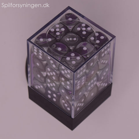 Gemini™ - 12mm d6 Purple-Steel w/white Dice Block