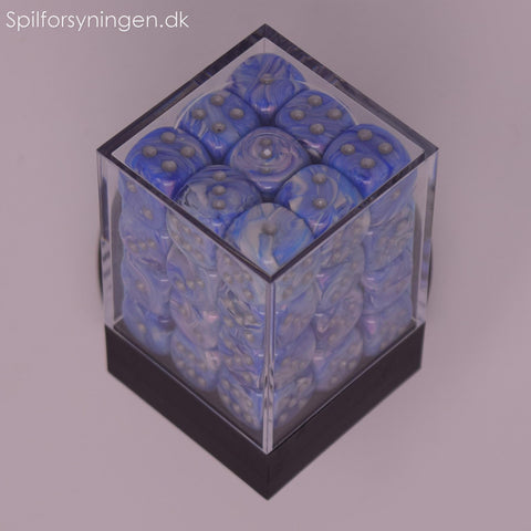 Mother of Pearl™ – 12mm d6 Blue w/silver Dice Block™