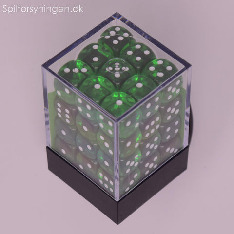 Translucent – 12mm d6 Green w/white Dice Block™