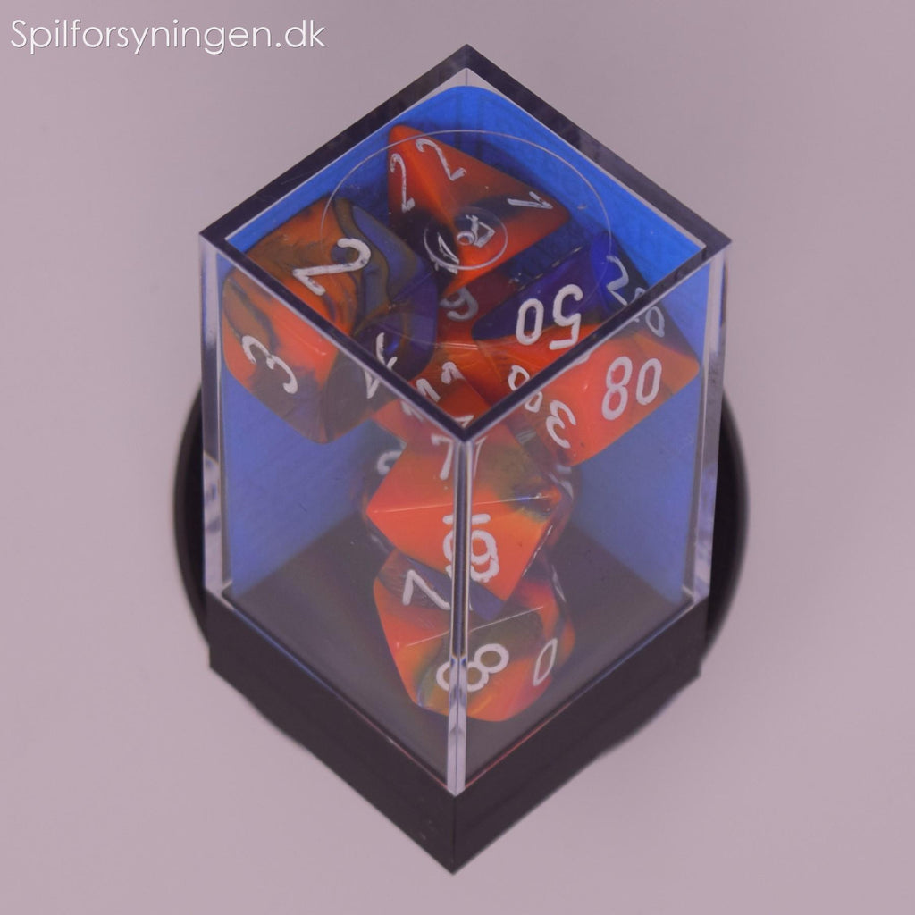 Gemini™ – Polyhedral Blue-Orange w/white 7-Die Set