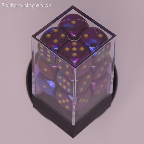 Gemini™ – 16mm d6 Blue-Purple w/gold Dice Block