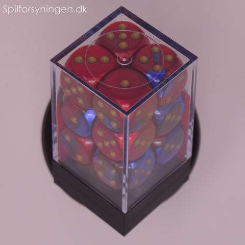 Gemini™ – 16mm d6 Blue-Red w/gold Dice Block