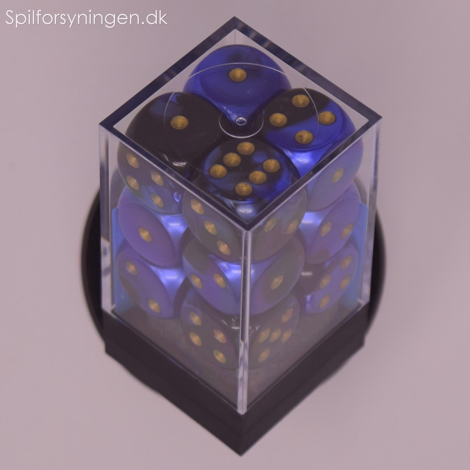 Gemini™ – d6 Black-Blue w/gold Dice Block