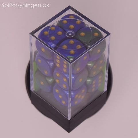 Gemini™ – 16mm d6 Blue-Green w/gold Dice Block