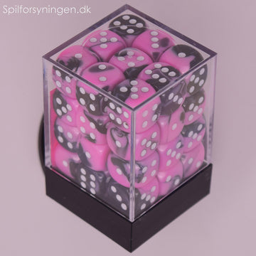 Gemini™ - 12mm d6 Black-Pink w/white Dice Block
