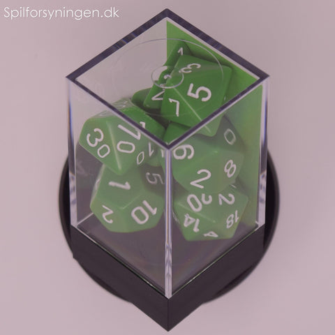 Opaque™ – Polyhedral Green w/white 7-Die Set