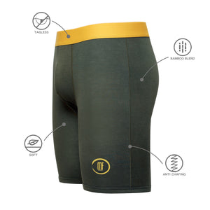 Olive Green Bamboo Performance Boxer Brief Underwear