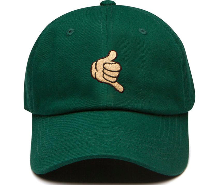 Shaka hang loose dad hat green