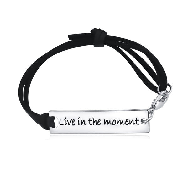 Live In The Moment Leather Strap Bracelet