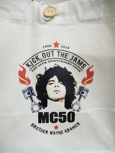 mc50th pistol flames canvas undyed tote bag with wayne kramer