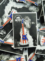MC50th Hard Enamel Pin: Wayne's Stars & Stripes Stratocaster