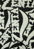 black and white zenta chenille patches cursive