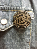 MC5 chrome and black hard enamel pin WITH lightening bolts on denim jacket