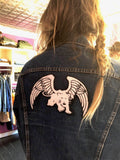 white panther winged panther mc5 chenille patch on denim