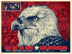 MC50th Ford Theatre Los Angeles GIG POSTER by Xray from Garageland with red white and blue bald eagle