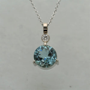 Aquamarine Diamond Pendant