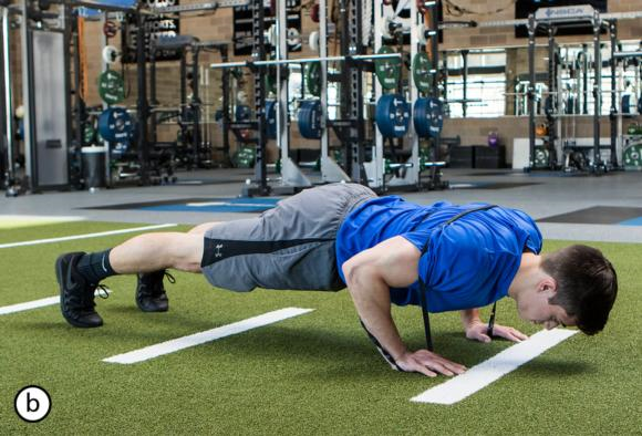 Figure 5.2 Band push-ups in start position and at end of countermovement.
