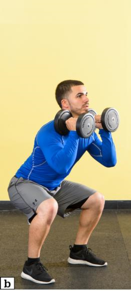 Figure 4.39 DB or KB squat: starting position; squat.