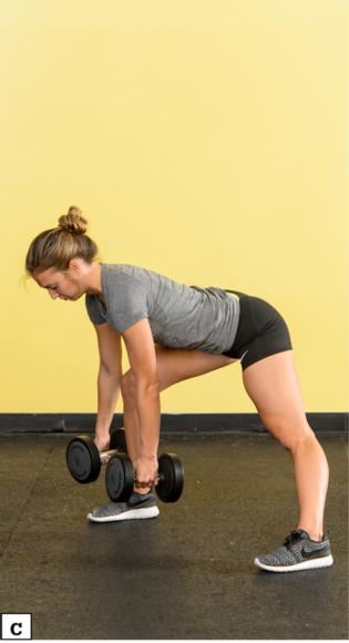 Figure 4.44 DB or KB lateral reaching lunge: starting position; lunge to the left and reach weights to foot; lunge to the right and reach weights to foot.