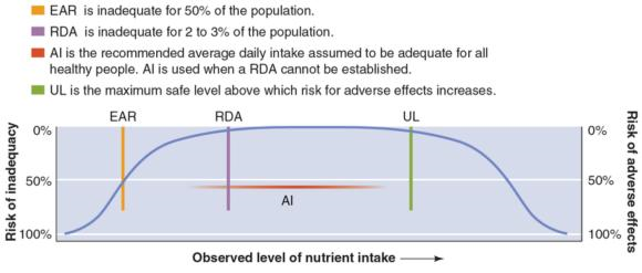 Figure 1.1 Dietary Reference Intakes. The AI or RDA describes the recommended daily amount of a nutrient, while the UL describes the amount not to exceed. Too little or too much of a nutrient can increase the risk of undesirable effects.