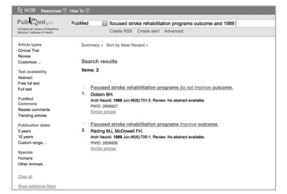 Figure 5.7 Two studies with directly contradictory titles that appeared consecutively in 1989 in
